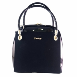 Prestige női fekete lakk hatású táska