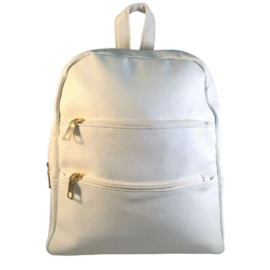 Műbőr hófehér hátizsák 6762