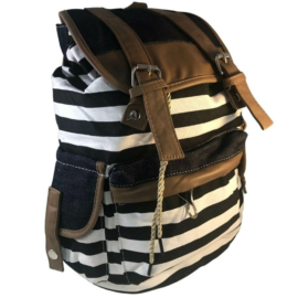 Pamutvászon fekete csíkos hátizsák