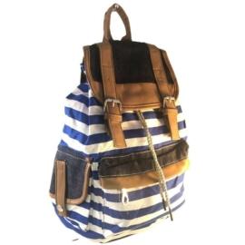 Pamutvászon kék csíkos hátizsák