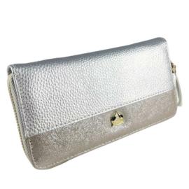 Ezüst és szürke műbőr pénztárca