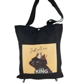 Fekete kézitáska válltáska textil kutyus