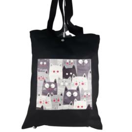Fekete kézitáska válltáska textil cicák