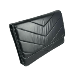 Nagyméretű fekete steppelt pénztárca