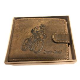 Kerékpáros mintás férfi bőr pénztárca