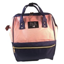 Baba - mama pamutvászon táska rózsaszín sötétkék színben