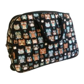 bagoly mintás színes gurulós bőrönd utazótáska
