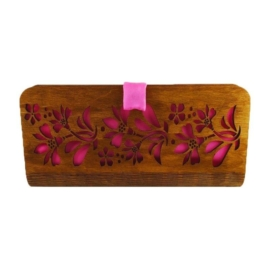 CASUAL Alkalmi táska - középbarna, rózsaszín selyem betéttel