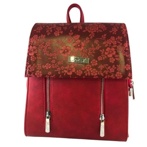 Karen piros rostbőr hátitáska virágos