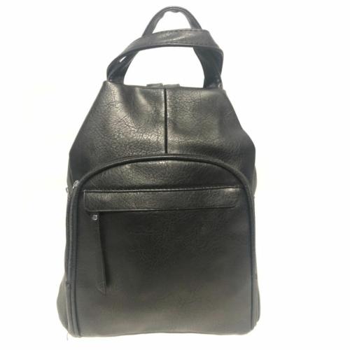 Műbőr hátizsák fekete színben