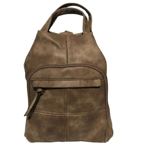 Műbőr hátizsák barna színben