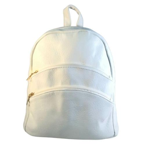 Műbőr hófehér hátizsák 6765