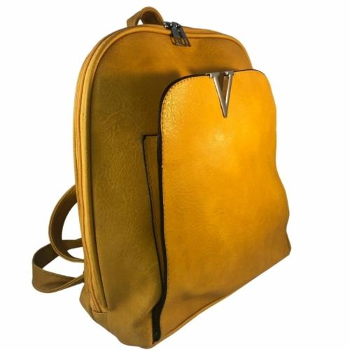 Műbőr hátitáska mustár színben 2431