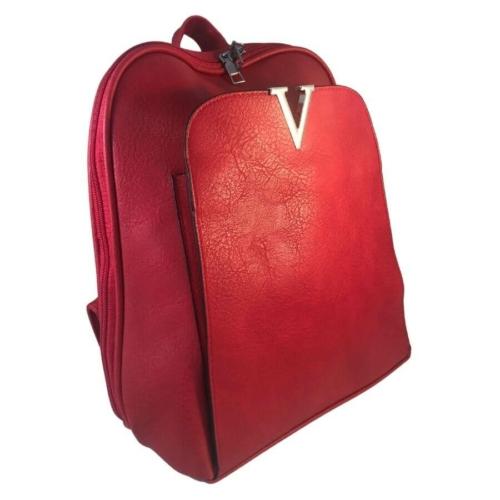 Műbőr hátitáska piros színben 2431
