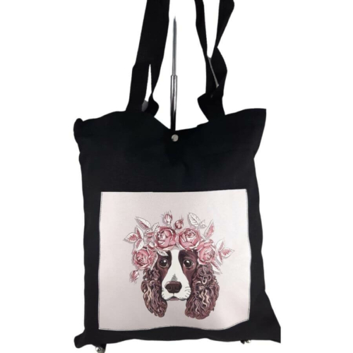 Fekete kézitáska válltáska textil kutyus virággal