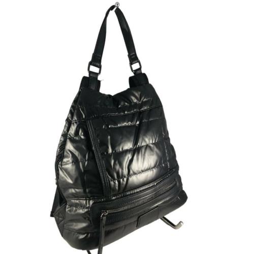 Fekete steppelt divatos hátizsák