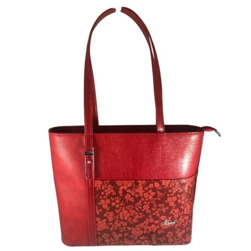 Karen nagyméretű piros virágos válltáska