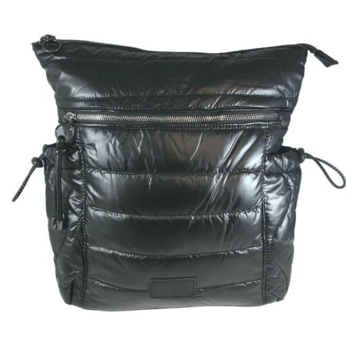 Fekete steppelt divatos hátizsák H-817