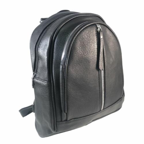 Trendi fekete műbőr hátitáska