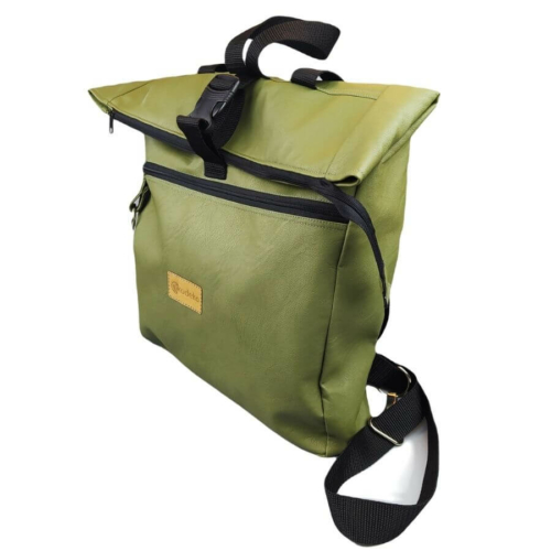 Rengs roll top hátizsák - keki zöld