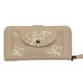 Kép 1/3 - Krém színű műbőr pénztárca virágos