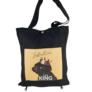 Kép 1/2 - Fekete kézitáska válltáska textil kutyus