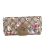 Kép 2/4 - Barna alapú virágos műbőr pénztárca